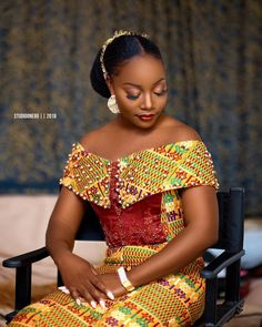 39 Latest African Kente Styles Attires For Wedding Parties African Wear Dresses, African Fashion Ankara, Latest African Fashion Dresses, African Print Fashion, African Traditional Wedding Dress, Traditional African Clothing, African Wedding Attire, African Attire, Kente Dress