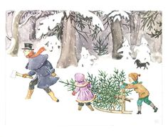 Peter, Lotta and Uncle Blue getting the Christmas tree in 'Peter and Lotta's Christmas' by Swedish picture book author Elsa Beskow