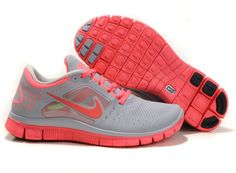 Womens Nike Free Runs 3 Wolf Grey Bright Crimson Shoes
