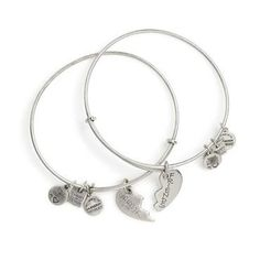 Alex and Ani Best Friends Set of 2 Charm Bangle Bracelets - Russian Silver Finish - Item 19276658 | Jewelers Wife