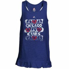 Majestic Chicago Cubs Youth Girls Flutterball Tank Top - Royal Blue