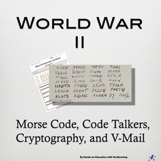 Engage students in the importance of codes in World War 2 with this set of 4 hands-on activities. Students practice morse code, decipher secret codes, send V-Mail and communicate using code. Students meet the Navaho code talkers, learn about cryptologi 5th Grade Social Studies, Social Studies Activities, Teaching Social Studies, Hands On Activities, Student Learning, Fun Activities, History Classroom, History Teachers, Teaching History