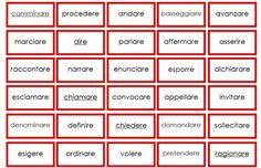 cartellini dei sinonimi per i verbi STAMPATO MINUSCOLO