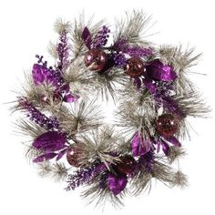Amazon.com: 24 Purple Berry Mix Pine Wreath: Home & Kitchen
