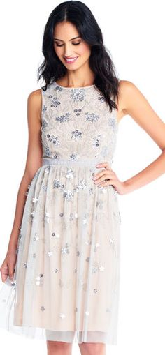 Adrianna Papell Adrianna Papell Sequin Floral Fit And Flare Dress With Beaded Embroidery I Dress, Lace Dress, Party Dress, Diana Wedding Dress, Fit And Flare Cocktail Dress, Metallic Cocktail Dresses, Formal Dresses For Women, Classy Women, Classy Lady