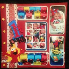 Elmo scrapbook page . Scrapbook Layouts, Scrapbook Pages, Elmo, 1st Birthday Parties, Party, Ideas, Scrapbooking Layouts, Smash Book Pages, Receptions
