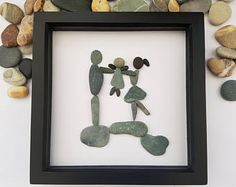 Pebble art picture of family of three, parents lifting up little girl, lovely and unique gift, birthday, anniversary, Christmas gift