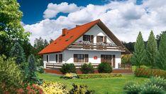Wizualizacja Dom przy Cyprysowej CE Cottage Style Homes, Home Fashion, Cabin, House Design, House Styles, Home Decor, Palmas, Blue Prints, Decoration Home