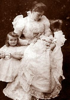 Alix with her two oldest daughters, Olga and Tatiana Romanov. She called them the big pair, and the youngest two daughters, Maria and Anastasia, the little pair.