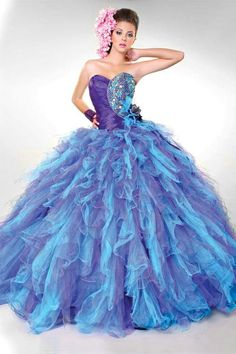 Strapless Ruffles Sweetheart Long Beaded Purple Quinceanera Dresses In Miami