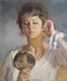 AURÉLIO D'ALINCOURT (1919 - 1990) Título: Vaidosa Técnica: óleo sobre eucatex Medidas: 55 x 46 cm Assinatura: canto superior direito