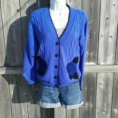 Vintage Blue Rose Cardigan Black trim and buttonsNo rips stains or tears Smoke free homeNo size tag, this sweater fits like a size Medium! Knit Waves Sweaters Cardigans