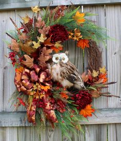 """MADE to ORDER CUSTOM Rustic Woodland Large Fall Owl Wreath, Autumn, 10"""" Brown Feather owl, Sunflower, Mum by IrishGirlsWreaths on Etsy"""