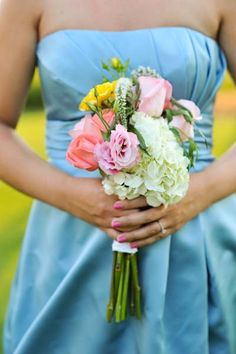 Sky blue dress, pink, coral and yellow flowers. So pretty!