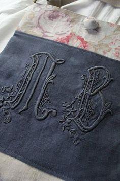 """""""France linge ancien monogramme MB remake sac d'épaule"""" Kokin-Fuat Coconfouato [Antique & biens divers] antique croix tissu antique de dentelle de tissu textile antique --cloth--"""