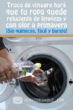Truco de vinagre hará que tu ropa quede reluciente de limpieza y con olor a primavera. ¡Sin químicos, fácil y barato! #vinagre #lavadora #lavar #ropa #DIY #tips #trucos caseros