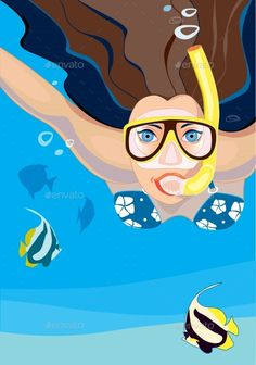 Buy Snorkeling by Koryaba on GraphicRiver. Vector illustration of young woman snorkeling in tropical sea Sister Wallpaper, Running Posters, Character Art, Character Design, Underwater Art, Color Vector, Snorkeling, Flat Design, Scuba Diving