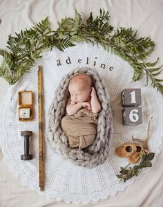 Boho Newborn Announcement Photography Ideas with birth date, time, weight, moccasins, flowers. Pregnant Mom