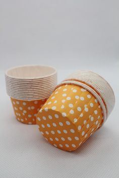 50 Orange Polka Dot Candy Cups Baking Cupcake by FunnyCoolstore, $7.25