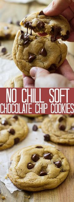 These No Chill Soft Chocolate Chip Cookies are soft, chewy, filled with chocolate chips and require no chilling time!!