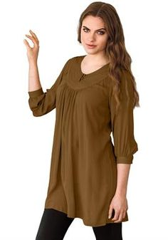 ccd8686d045 Plus Size Soft knit tunic top has topstitched front yoke