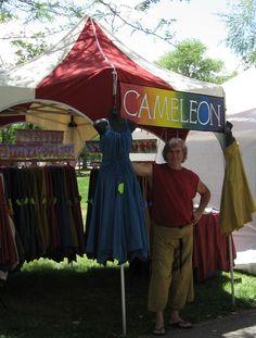 """Cameleon Clothes.com - an extremely versatile garment. A hexagon """"skirt"""" attached to a central tube, it can be ponchos, skirts, dresses, laundry bag, purse, pillow, and more. Bought several at Michigan Renaissance Festival, but merchant no longer attends. Must buy more!"""