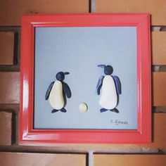 17x17 Pebble art Penguins by RockandStuff on Etsy