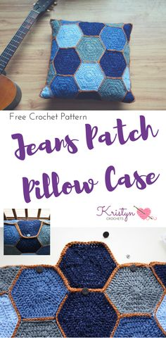 This free crochet pattern features a removable button up crochet pillow case, using hexagons and it counterparts to make a square.  Lion Brand Jeans line up make up the jeans patchwork color scheme.