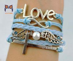 Infinite love bracelet pearl wings cross bracelet by littlecuteowl, $6.99