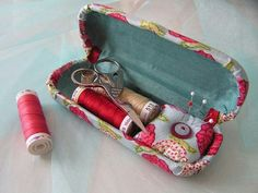 Eyeglass case repurpose to sewing kit