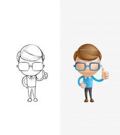 Cute 3D Boy Pencil Draft: http://tooncharacters.com/3d-people/cute-3d-boy-character-set/
