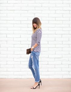 BOYFRIEND JEANS AND STRIPES - a house in the hills striped shirt+cheetah print clutch+casual jeans+totes adorbs heels