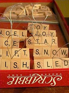 I love the scrabble Ornaments! check thirft stores for old scrabble games for sale. Scrabble Ornaments, Scrabble Crafts, Xmas Ornaments, Christmas Decorations, Scrabble Tiles, Scrabble Letters, Letter Ornaments, Merry Christmas, Christmas And New Year