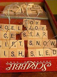 I love the scrabble Ornaments! check thirft stores for old scrabble games for sale. Scrabble Ornaments, Scrabble Crafts, Xmas Ornaments, Christmas Decorations, Scrabble Tiles, Scrabble Letters, Letter Ornaments, Merry Christmas, All Things Christmas