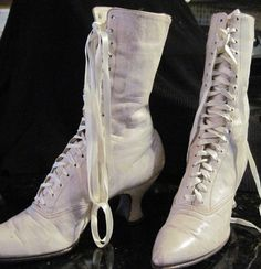 Off White Antique Victorian Boots Reserved for Deco13 via Etsy