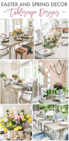 Spring and Easter Tablescape Decor by Home Stories A to Z #springdecor #spring #springtable #springdining #springtablescape Easter Table Decorations, Romantic Shabby Chic, Shabby Chic Cottage, French Country Farmhouse, Rustic Farmhouse, French Decor, French Country Decorating, Seasonal Decor, Fall Decor