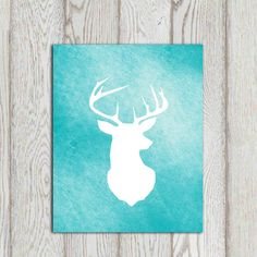 Turquoise / Teal Deer printable with a white stag silhouette. Woodlands or forest animal for home decor or office decor. Digital product for instant