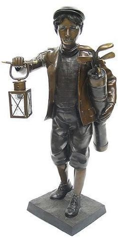 Amazing Golf Caddy With Lantern  Bronze Statue