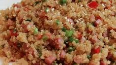 Quinoa makes the perfect substitution for rice in this fried rice-style dish. Cooked ham, bell peppers, and onions add flavor to this hearty and light side dish.