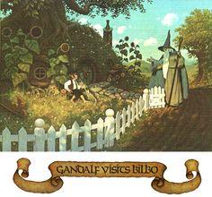 """JRR Tolkien Calendar - 1978 - Illustrations by the brothers Hilderbrandt // """"Gandalf visits Bilbo"""""""