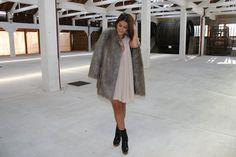 Menina & Moça Pleated Dress || Faux Fur Coat