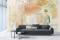 Watercolor illustration for wallpaper, Wallpepper and Spazio 81, interior design, woman and palace