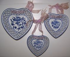 Vintage Blue White Heart Dish Lattice Heart Trinket Dish Filligree Dish Floral Motif Wall Hanging by RCAntiquesandCollect on Etsy https://www.etsy.com/listing/223665083/vintage-blue-white-heart-dish-lattice