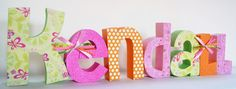 Lettering Baby Girl Wooden Letters Nursery by thepatternbag, $142.89