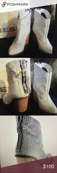"""NEW Diesel White Leather Ankle Boots 5 Boho Gypsy NEW w/box. A rare find w/a killer look. Will no doubt turn heads. Perfect for clubbing, festivals, Coachella Burning Man or even as a unique touch to a wedding ensemble. Stacked boots with a block wooden heel. Large functional zipper up the back. White perforated distressed leather body 3"""" heel, Perforated leather upper with tonal stitching, Zip entry at heel, Leather lining and insole, Synthetic outsole with block heel, Imported. Tags…"""