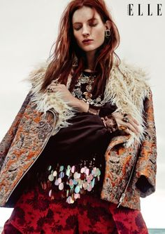 Kristin Zakala is a bohemian dream for Elle Canada December 2015 by Owen Bruce [editorial]