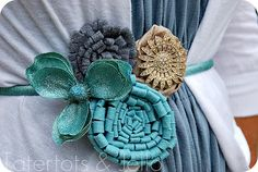glittered brooches and headbands