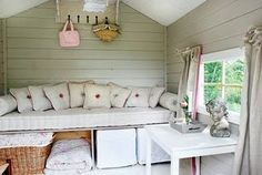 Ready to Build a Playhouse on Stilts? Kids Garden Playhouse, Build A Playhouse, Playhouse Ideas, Playhouse Interior, Shed Interior, Summer House Interiors, Cottage Interiors, Summer House Paint, Tree House Interior
