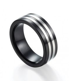 Polished Black Ceramic Ring with Dual Offset Stainless Steel Inlay | Ceramic Rings 24HOUR SHIPPING