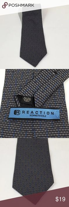 """Kenneth Cole Reaction Gray Silk Made In USA Tie Men's Kenneth Cole Reaction gray 100% Silk Made in The USA Tie. 57"""" long, 4"""" wide. Excellent condition no flaws Kenneth Cole Reaction Accessories Ties"""
